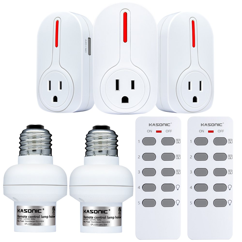 Wireless Remote Control Outlets & Light Sockets, Kasonic Smart Home ETL-Listed Remote Control Multipurpose Combo Set [3 Electrical Outlets, 2 Lamp Holders, 2 Remotes] for Household Appliances