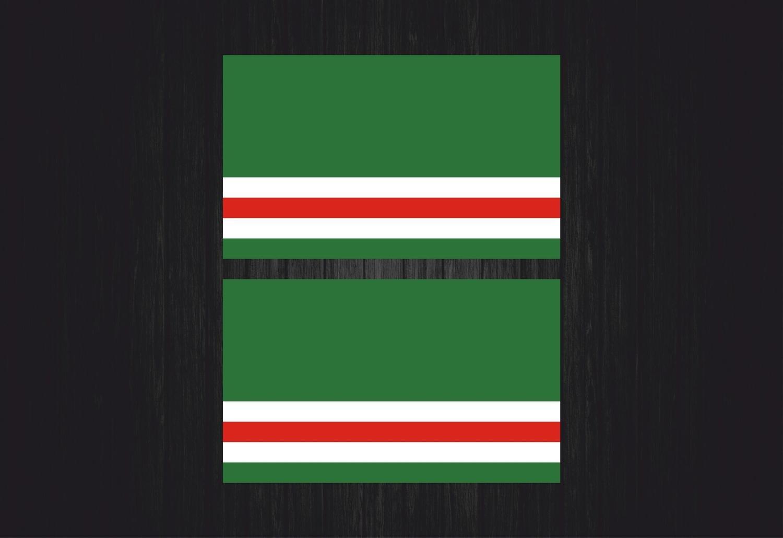 2x autocollant sticker voiture moto drapeau tché tché nie tché tché ne chechnya akacha SKU008063