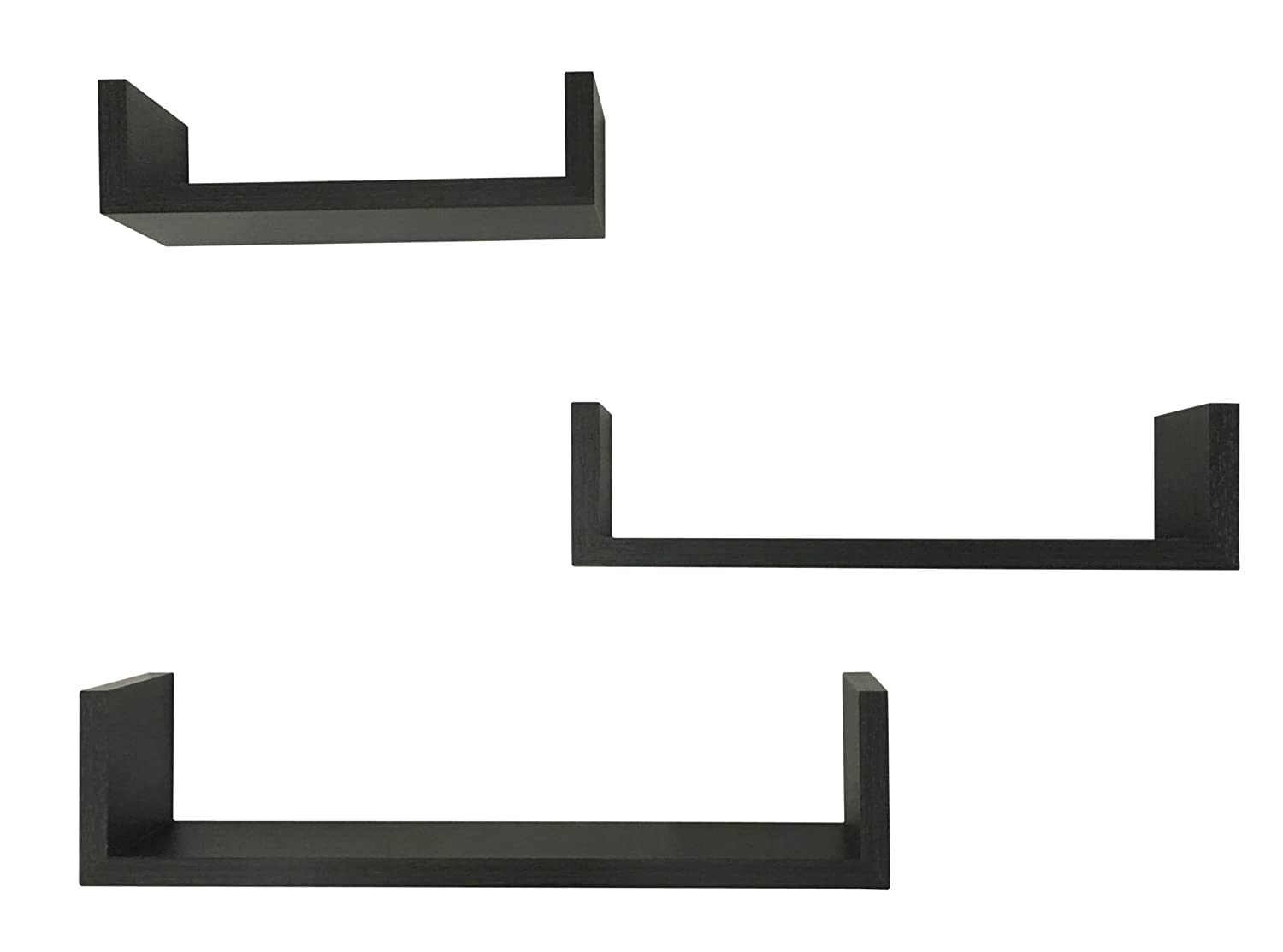 EWEI'S HomeWares 3 Floating U Shelves, Espresso Finish