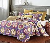 Virah Bella Duke Imports Collection - Deborah Valencia 3 Piece Suri Printed Quilt Set - Queen Size (Suri Purple)
