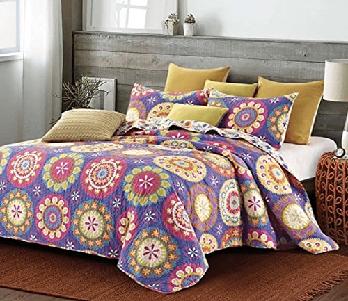 Virah Bella Duke Imports Collection - Deborah Valencia 3 Piece Suri Printed Quilt Set - Queen Size (Suri Purple) by Virah Bella