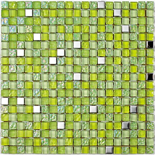 8 mm 30 x 30 cm Mosaico de Vidrio en Malla LGX-Chess Plata