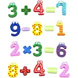 Cinlla Magnetic Numbers Mathematics Symbols Wooden Cartoon Fridge Magnet for Kid Baby Educational Learning Counting Toy Refrigerator Magnets - 15pcs/set