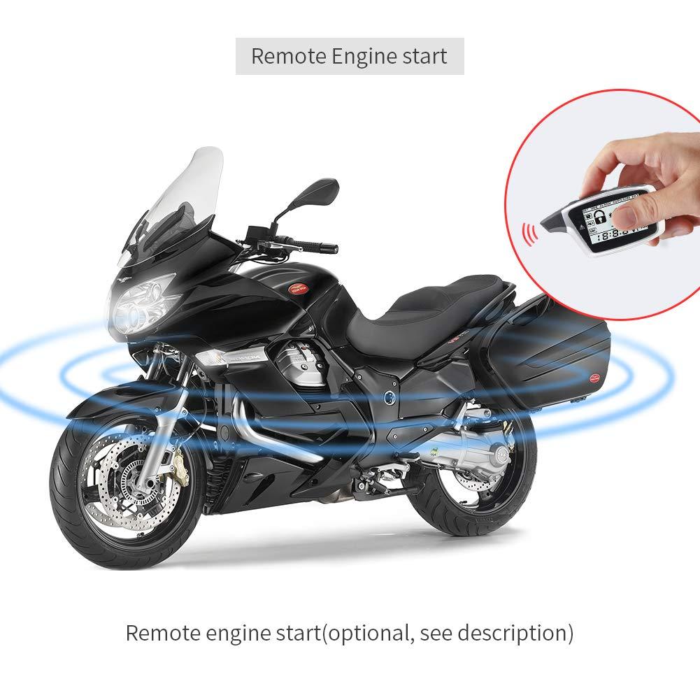 EasyGuard em212/2-Wege Motorrad Alarmanlage mit LCD Pager Display Wiederaufladbar Transmitter Built in Schock Sensor /& Mikrowelle Sensor Erkennen DC12/V