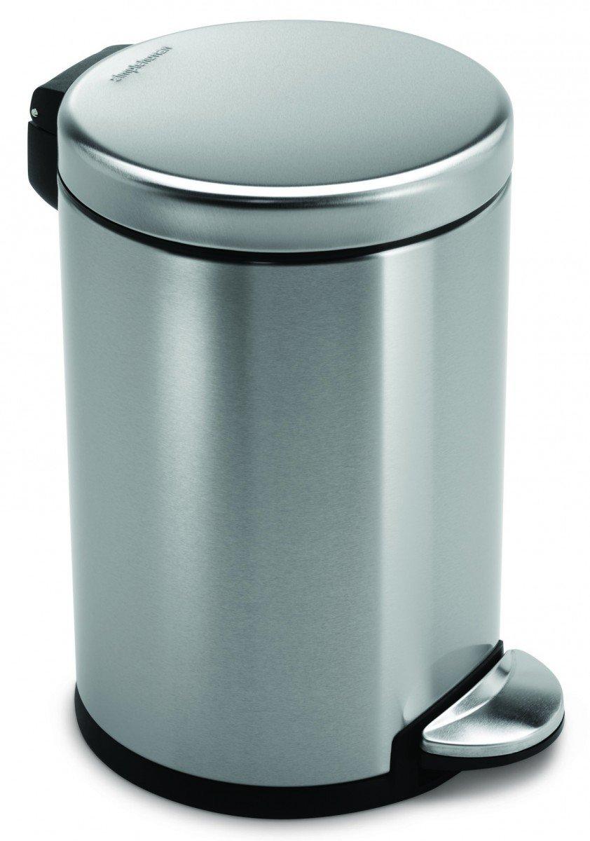 simplehuman Brushed S/S Step-On 4.5 L / 1.2 Gal Mini-Trash Can
