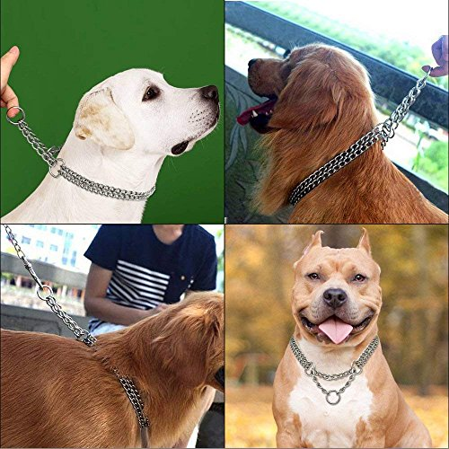 Image of Beirui Dog Pet Martingale Pinch Metal Stainless Steel Collar for Training Walking Link Double Plated Choke Chain Neck for Large Dogs 19-24
