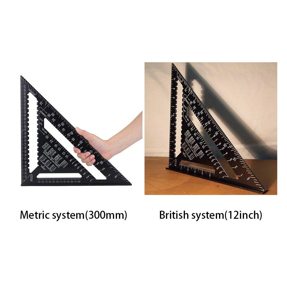 metrisches System Dreikant-Lineal aus Aluminiumlegierung Holzwerkzeuge Doppelma/ßstab Gehrungsma/ßstab f/ür Zimmermannsarbeiten Drehzahlmesser Winkelmesser