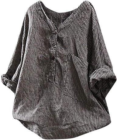 YEBIRAL Camisetas Mujer Sabana de Algodon Suelto Rayas Cuello en V ...