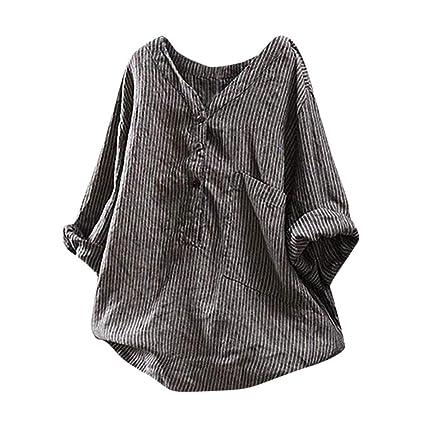 b65fe8e11dd7d0 Amazon.com: Summer Plus Size Tops Tronet Women Button Up Pullover Striped  Tunic Cotton Linen t-Shirt Casual Blouse Tops: Clothing