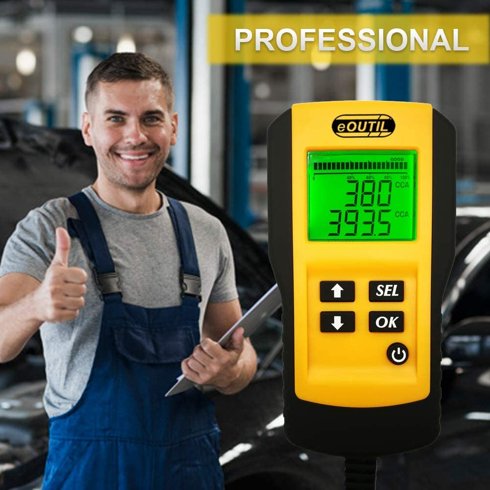 eOUTIL 12V Car Battery Tester Resistance and CCA Value AE300-1 Auto Battery Load Analyzer with LCD Display Test Battery Life Percentage,Voltage