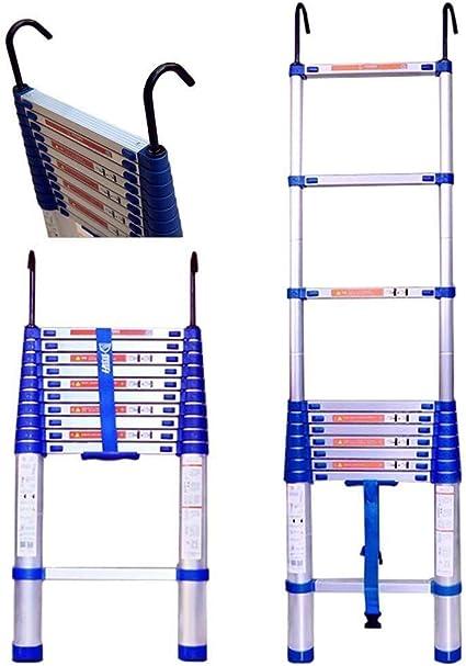 WaJaCg Escalera de extensión de Aluminio Escalera telescópica Plegable con Gancho y estabilizador de Goma Antideslizante for Loft Techo Interior al Aire Libre casa Escalera Recta Carga 150 kg: Amazon.es: Hogar