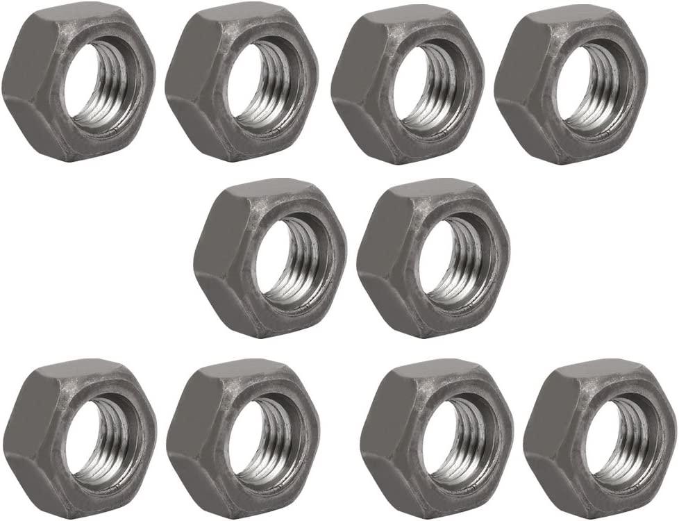 10 Pieces M12 x 1.5 mm Metric Pitch Fine Thread Carbon Steel Left Hexagon Nuts