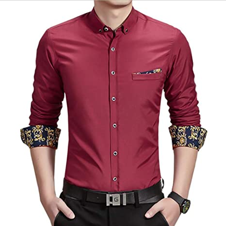 YaXuan Camisa cálida de Negocios para Hombres, Camisa de ...