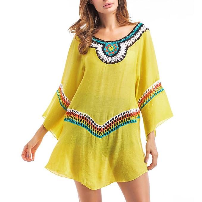 iBaste Vestidos Playeros Mujer Bikini Cover up Vestido Boho Tejidos Crochet Bikinis Blusas Sexy Beach Dress