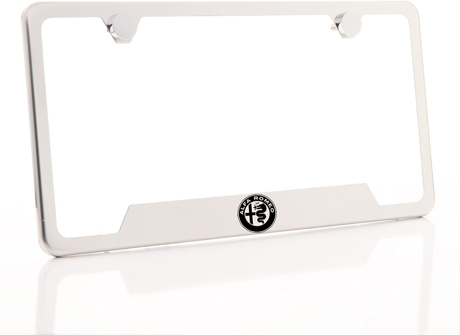 KA Depot One Fit Alfa Romeo Logo on Chrome Bottom Cut Out Stainless Steel License Plate Frame Holder Front Or Rear Bracket Laser Etched Black LetteringAluminum Screw Cap
