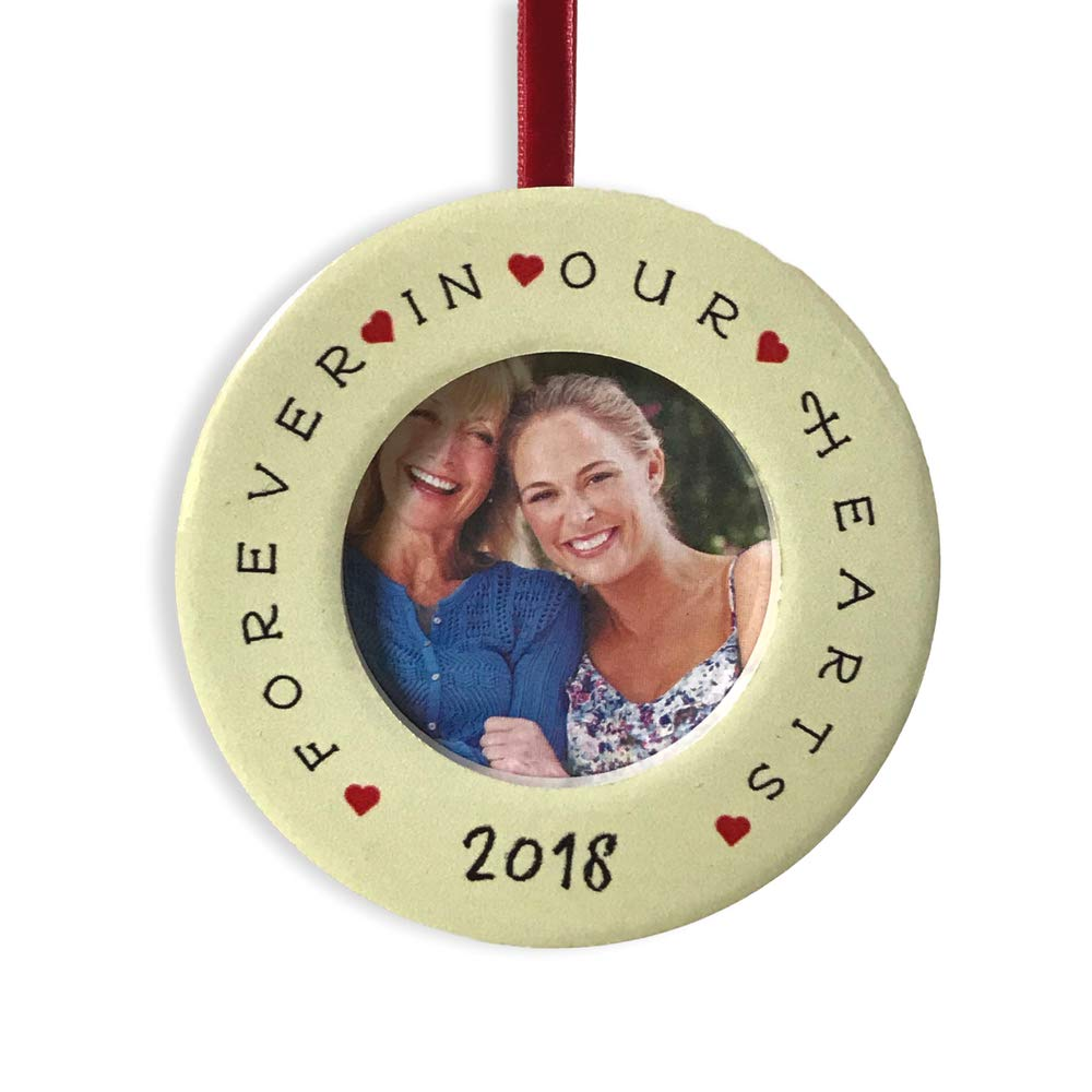 2 Picture Opening 2230 Forever in Our Hearts Bereavement Desktop Frame and Ornament Dated 2018 Christmas Ornament with Easel Back BANBERRY DESIGNS in Loving Memory