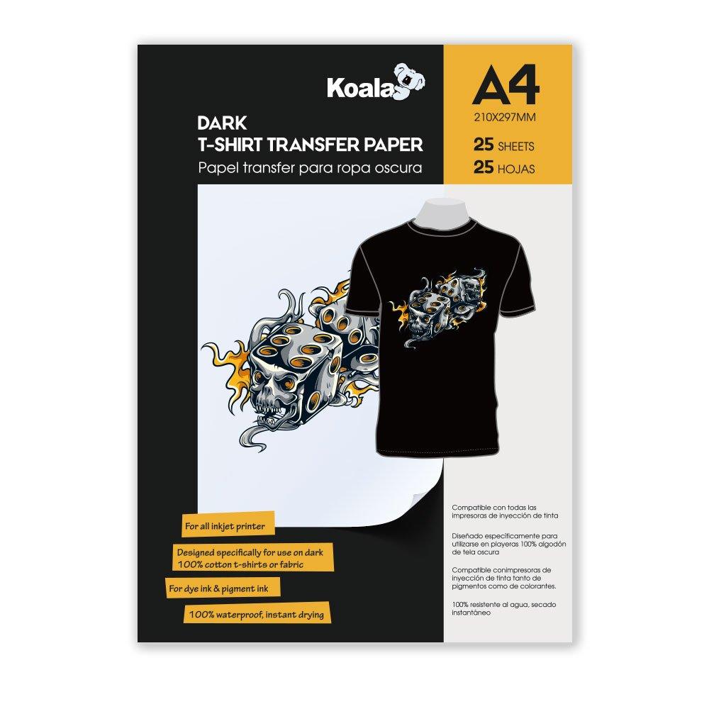 KOALA A getto d'inchiostro Carta di trasferimento per il ferro sulla scuro magliette, 25 fogli, A4