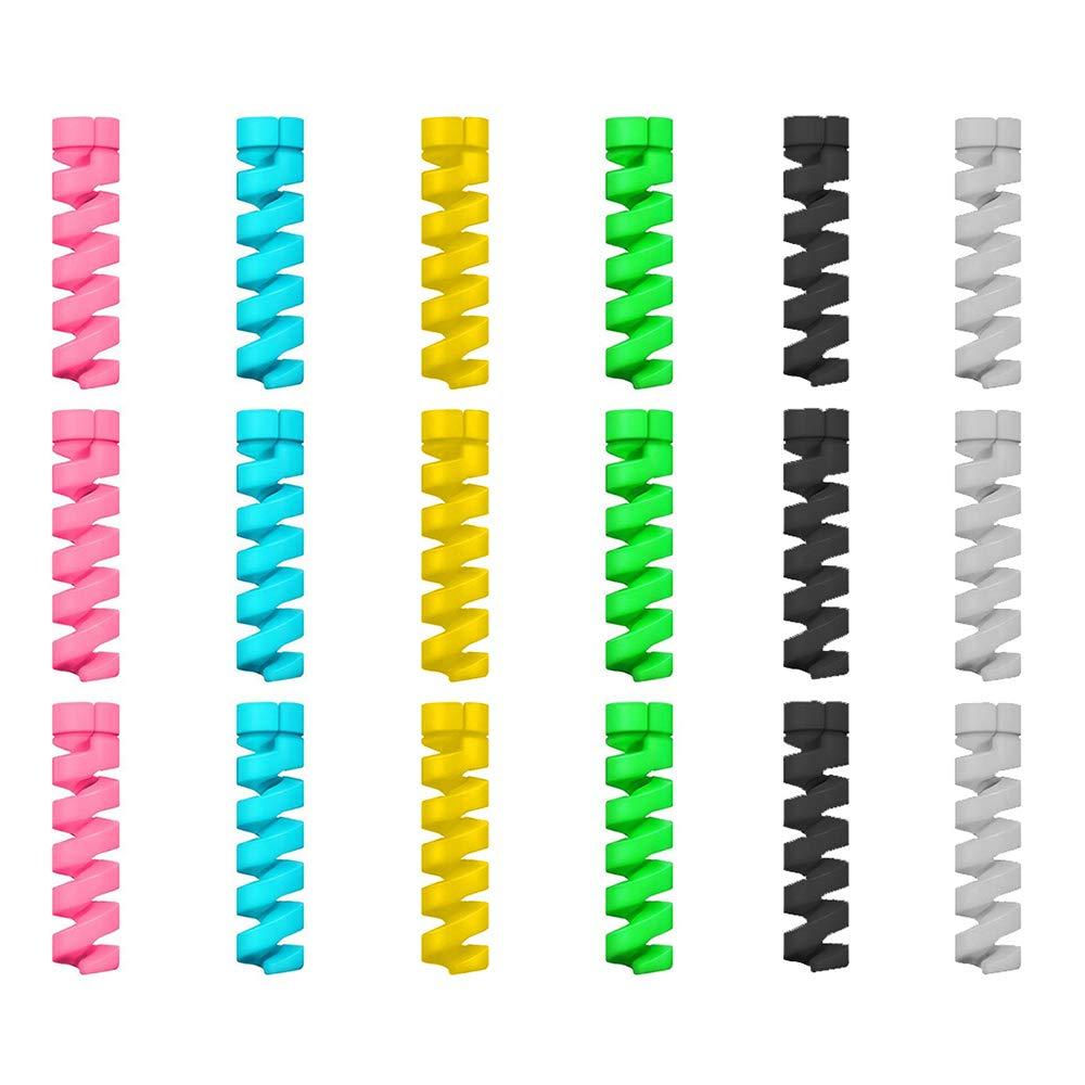 12 Unidades Protector de Cable Espiral Hecho en Silicona Flexible Micro USB Cargador para Cables Lightning iPhone y Macbook Rat/ón Universal Teclado Tipo C Ethernet Auriculares Al Azar