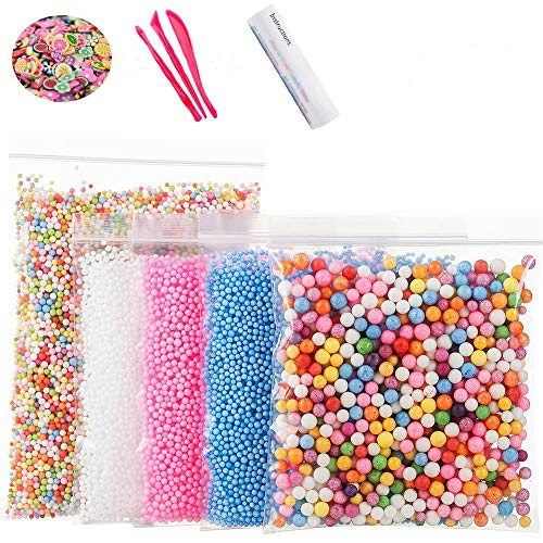 Foam Beads for DIY Slime - Craft Styrofoam Balls 0.1-0.35 inch(47000pcs) for Kids Homemade Slime, Home Decorative, Wedding and Party Decorations (5 Pack)