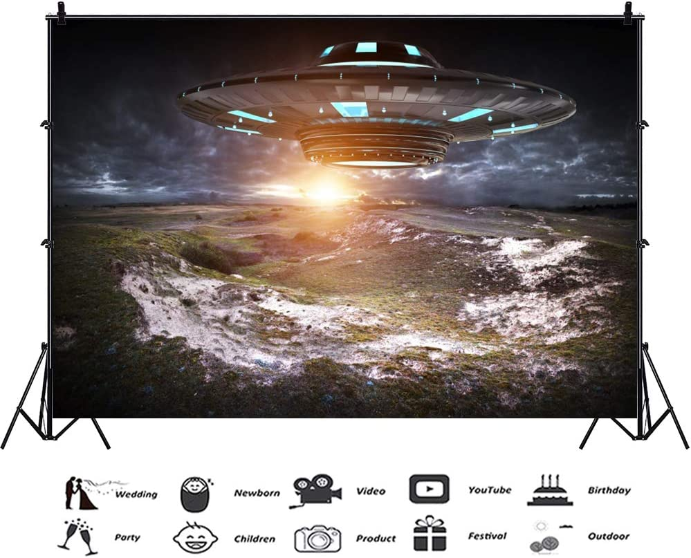 YongFoto 10x9ft UFO Activity Photography Backdrop Flying Saucer Land Background Alien Invasion Earth Science Fiction Kids Birthday Party Banner Kids Adult Portrait Photo Studio Props Wallpaper