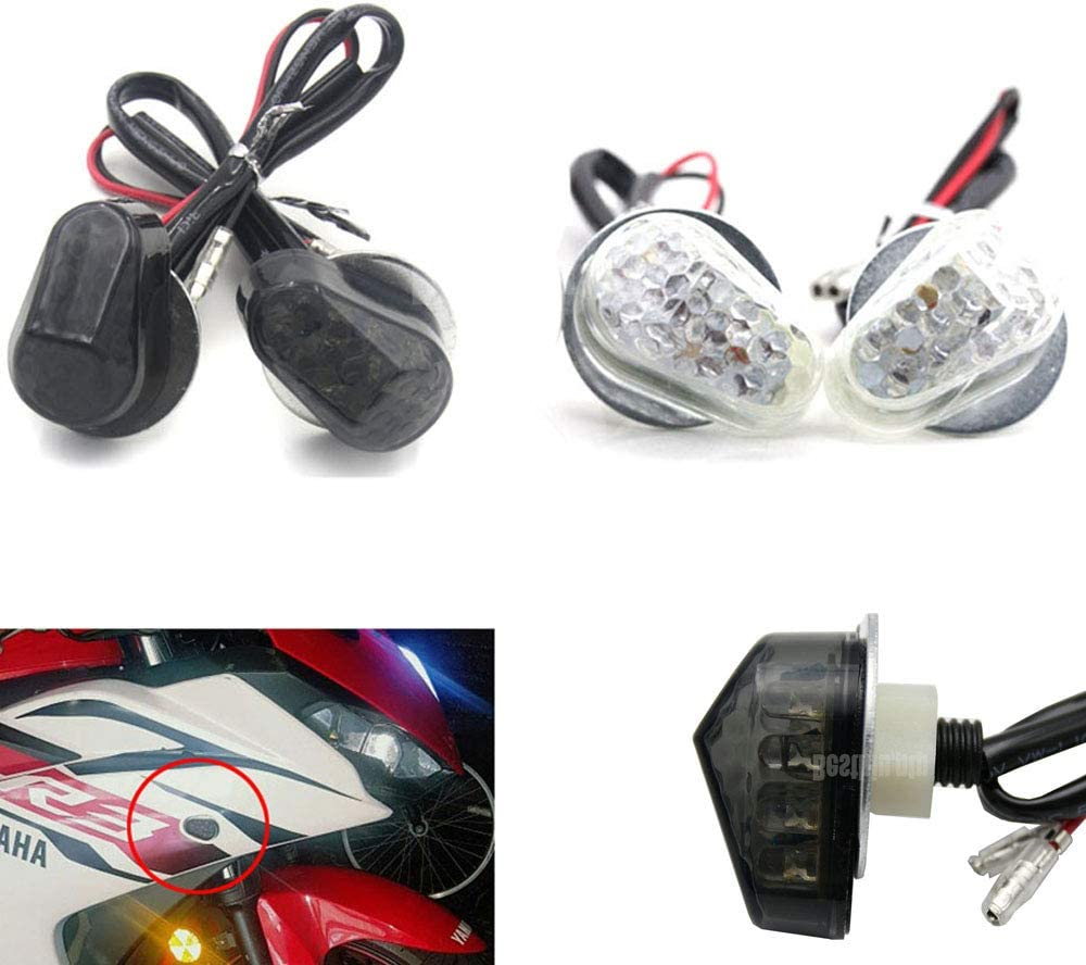 Pair Motorcycle LED Turn Signal Lights For YZF R1 R6 R6S R3 R25 R125 R6S FZ1 FZ6 FZ8 XJ6 LED Flush Mount Turn Signals Indicators flashing lights blinkers Clear