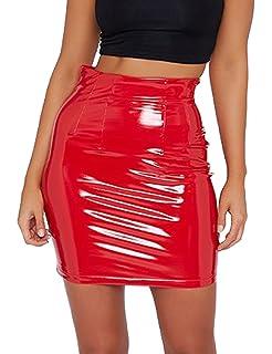 005c9d372e40 just quella Women's Classic High Waist Sexy Slim Mini Pencil Leather Skirts  9043