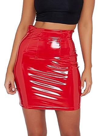 c000c0cb1b63c3 just quella Women's Classic High Waist Sexy Slim Mini Pencil Leather Skirts  9043 (Red,