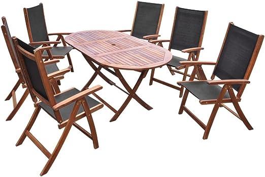 Fesjoy Juego de Comedor Patio de 7 Piezas 6 plazas Juego de Mesa de Comedor de jardín 6 sillas Plegables Mesa de Madera de Acacia Conjunto de Muebles de Exterior para Invernadero: