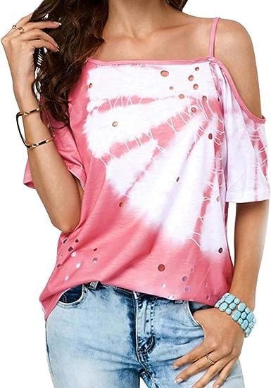 Femme Froid Épaule T-Shirt Vacances Été Décontracté Femmes Solide Tops Blouse Tee
