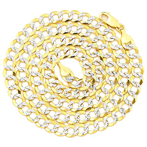 LOVEBLING 14k Yellow Gold 9.5mm Solid Pave Curb Chain Necklace White Gold Pave Diamond Cut W/Lobster Lock (24 inch)