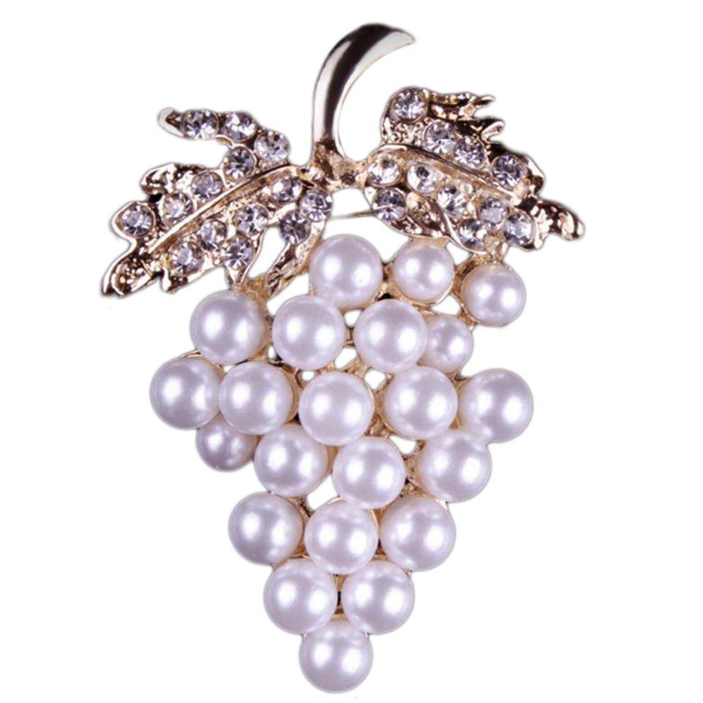 Doitsa 1 pcs Broche Bijoux cré ative Strass é tincelants Forme des Perle de Raisin Dé coration de vê tements Broche Homme/Femme Pins size 3.8*5.4cm