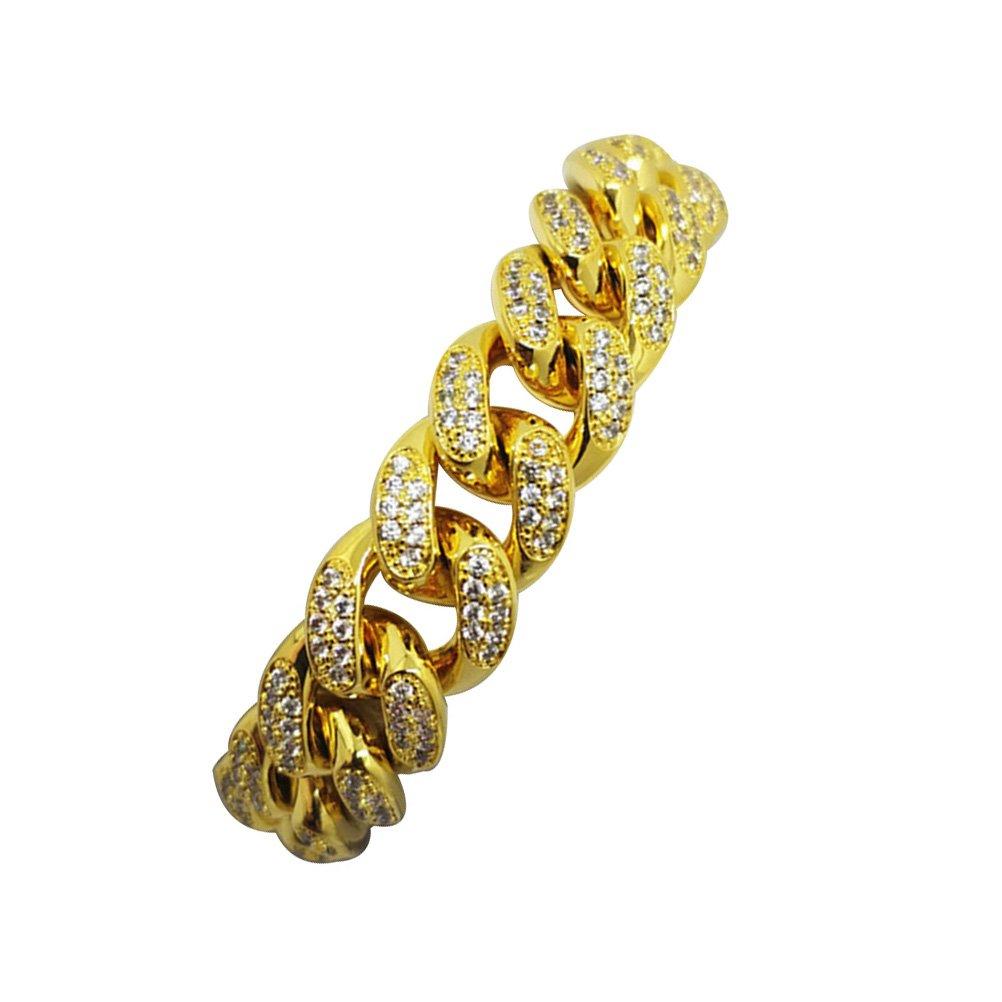 801594c1eb8 LUOEM élégant bracelet pour homme Hip Hop Bijoux diamants d imitation de cristal  diamant cubain plaqué or chaîne de lien collier de 20 cm  Amazon.fr  ...
