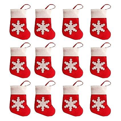 Naisicatar 12pcs de Navidad Cubierta Vajilla Tabla Creativa Tela no Tejida de la Nieve del calcetín