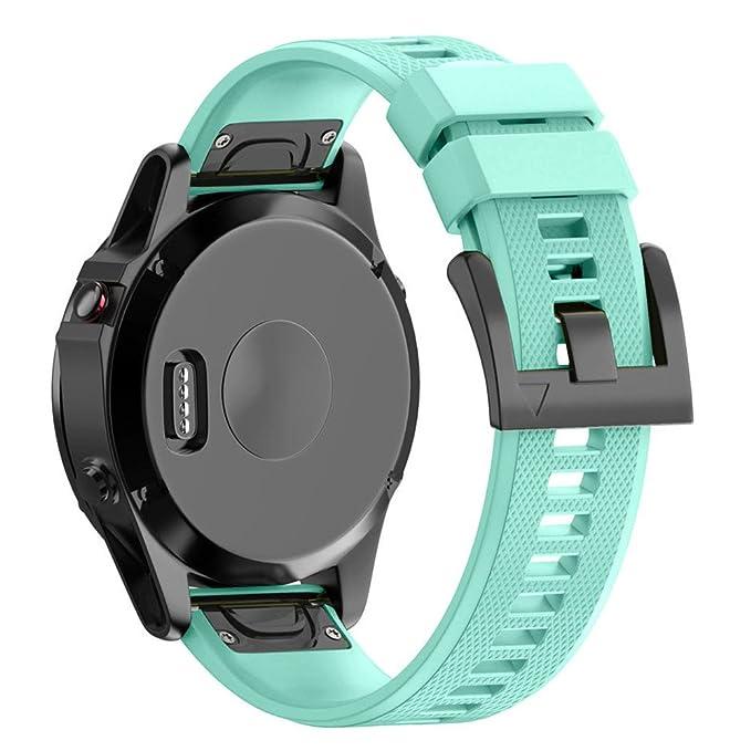 LANSKIRT Sustitución de Banda Suave de Banda de instalación rápida repuestos de Relojes Recambio Brazalete Extensibles Pulsera para Garmin Fenix 5 Plus: ...
