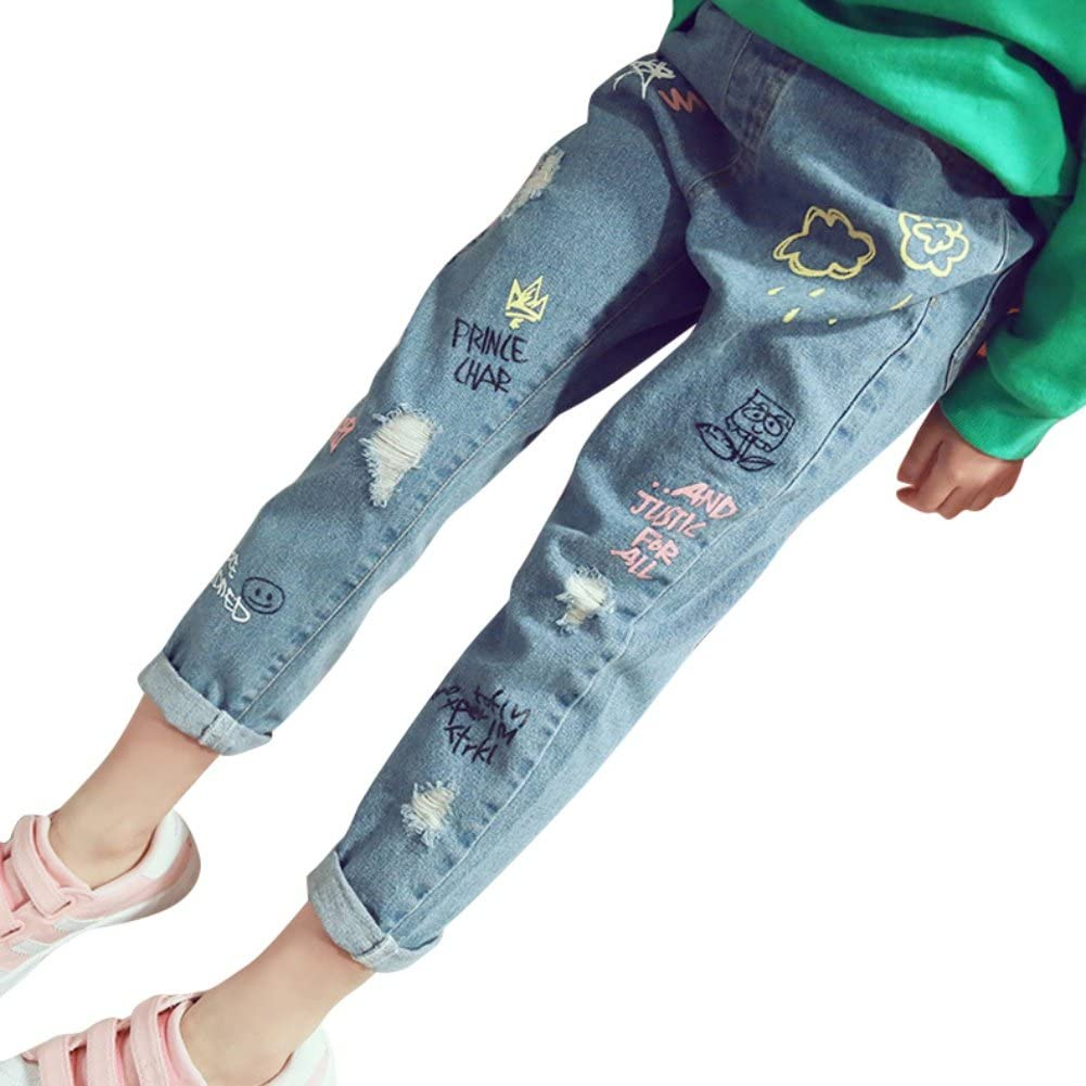 Minuya Trou Jeans D/échir/és Denim Pantalon V/êtements pour 1-9 Ans Jeans B/éb/é Gar/çons Filles