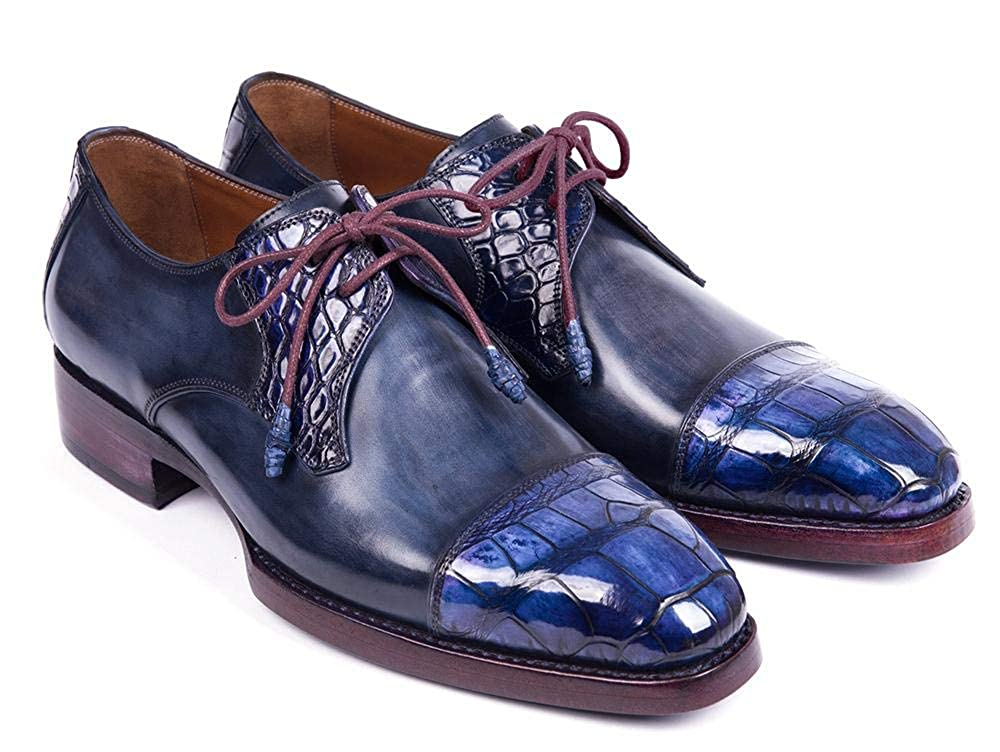 Paul Parkman Blue Genuine Crocodile & Navy Calfskin Captoe Derby EU Shoes (ID#877-BLU) EU Derby 46 - US 12 / 12.5 B07HCQ289S 6ad843