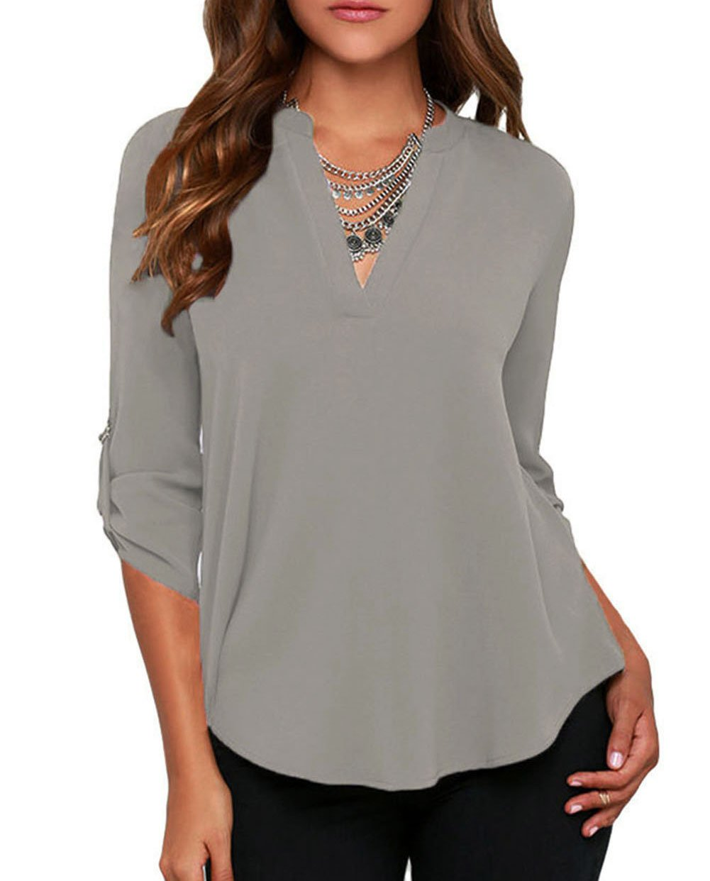 LOSRLY Women's 3/4 Long Sleeve T-Shirts Casual Work Blouse Office Top 8/10 Medium Grey
