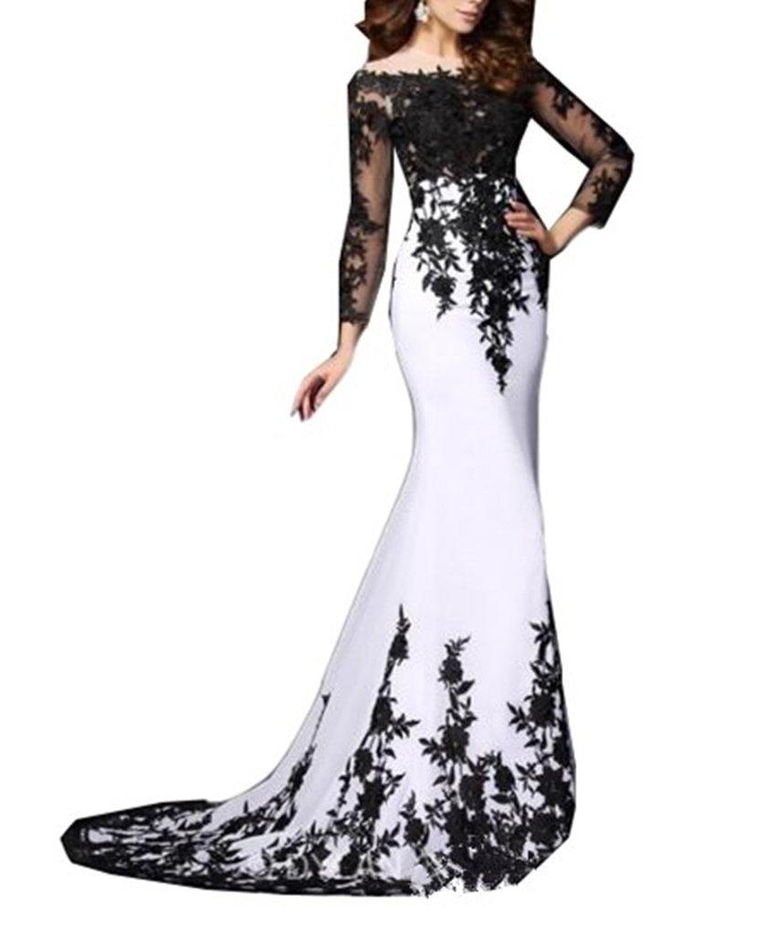 Emmani Womens Long Sleeve Bateau Mermaid Trailing Formal Evening Dresses