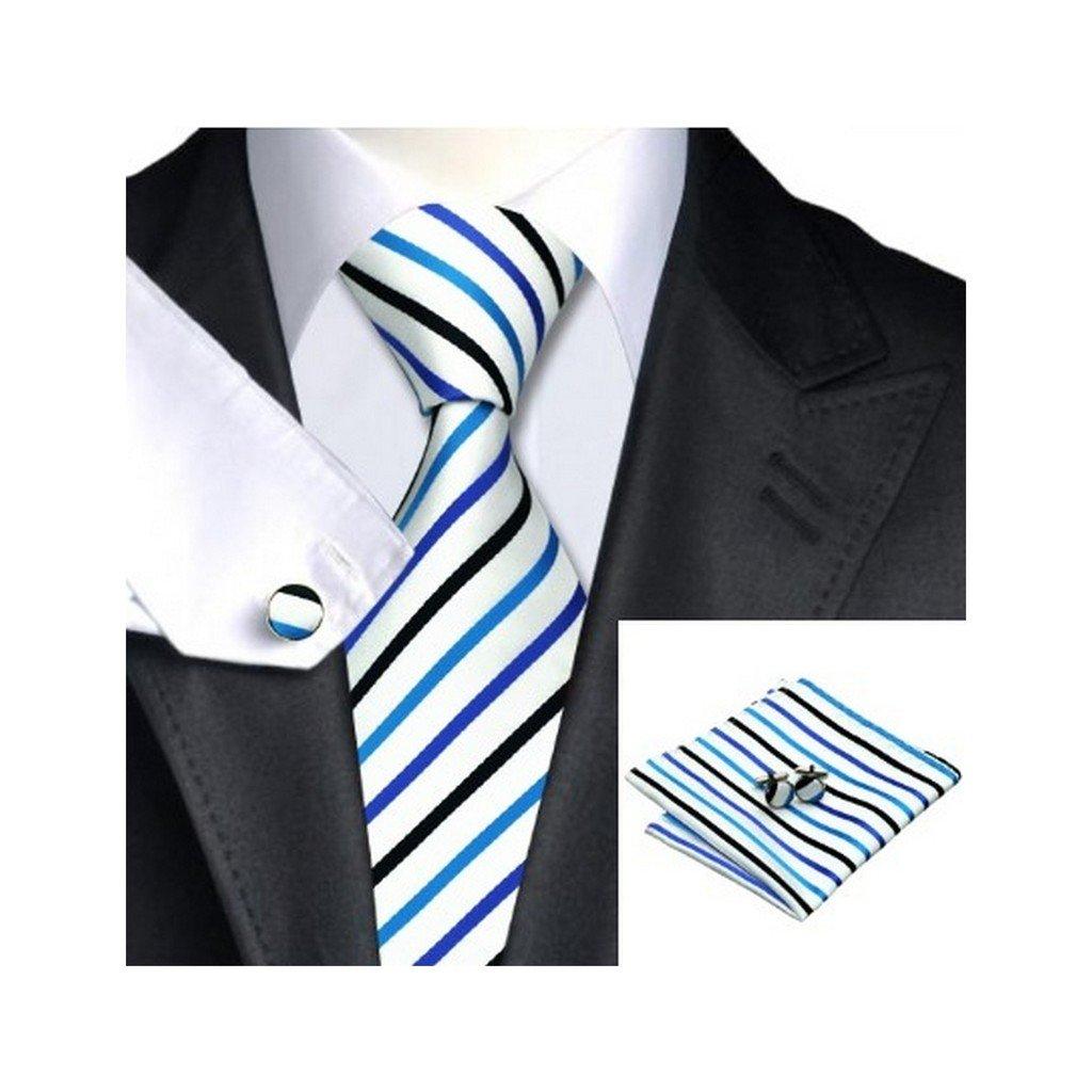 White Black Blue Stripe Classic Silk Necktie Tie Hanky and Cufflinks For Men