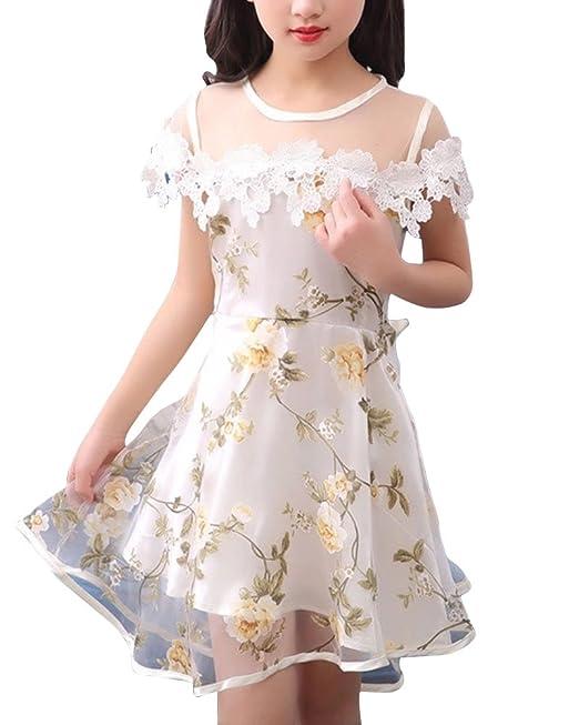 Niña Fiesta Sin Mangas Flores Formal Vestido de Princesa Vestido Amarillo 110