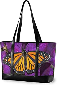 Large Woman Laptop Tote Bag - Beautiful Monarch Butterfly Deep Purple Flower Canvas Shoulder Tote Bag Fit 15.6 Inch Computer Canvas Bag for Work School Outdoor Activities