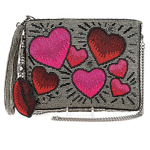 Crossbody Heart FRANCES Wristlet MARY Top Throb Beaded Handbag Zip q4cnn16W