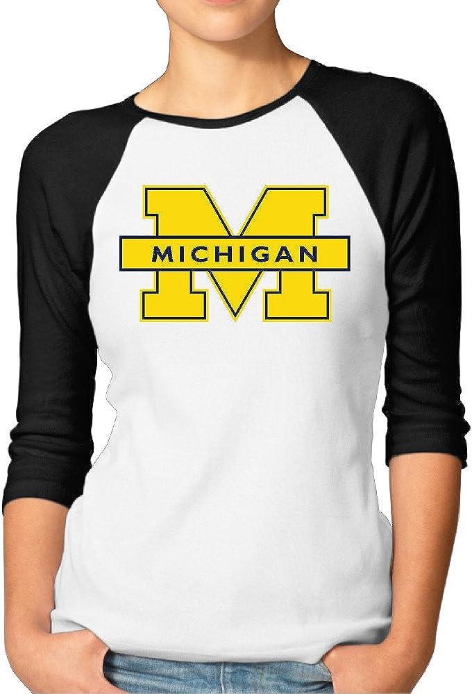SAXON13 Women's Lovely Michigan Wolverines Logo Raglan Tri-bend