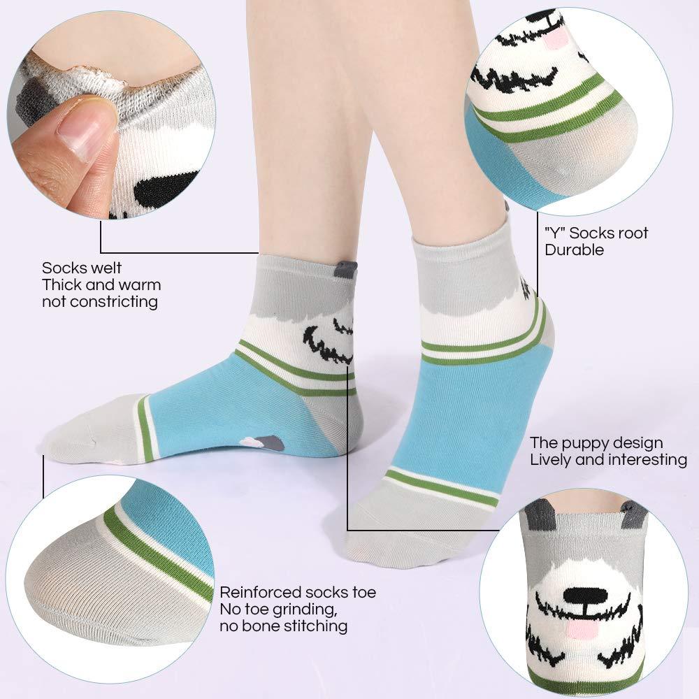 set di 10 paia di calzini da donna 5 paia di calzini a forma di cucciolo di animale e 5 paia di calzini da donna in cotone colori macaron Rovtop