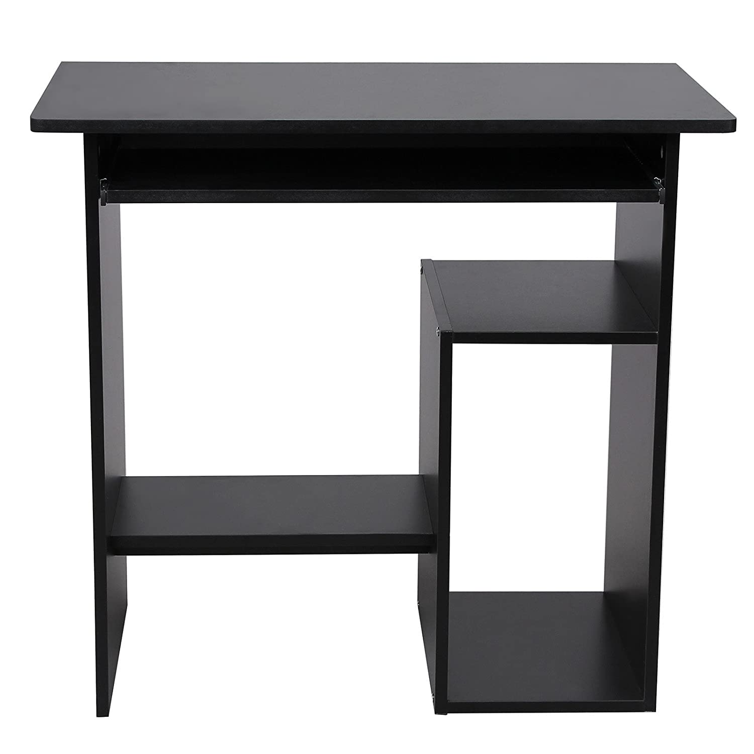 Songmics Small Computer Desk With Sliding Keyboard 2 Shelves Study Workstation 80 X 48 74 Cm For Home And Office Use Black LCD852B Amazoncouk Kitchen
