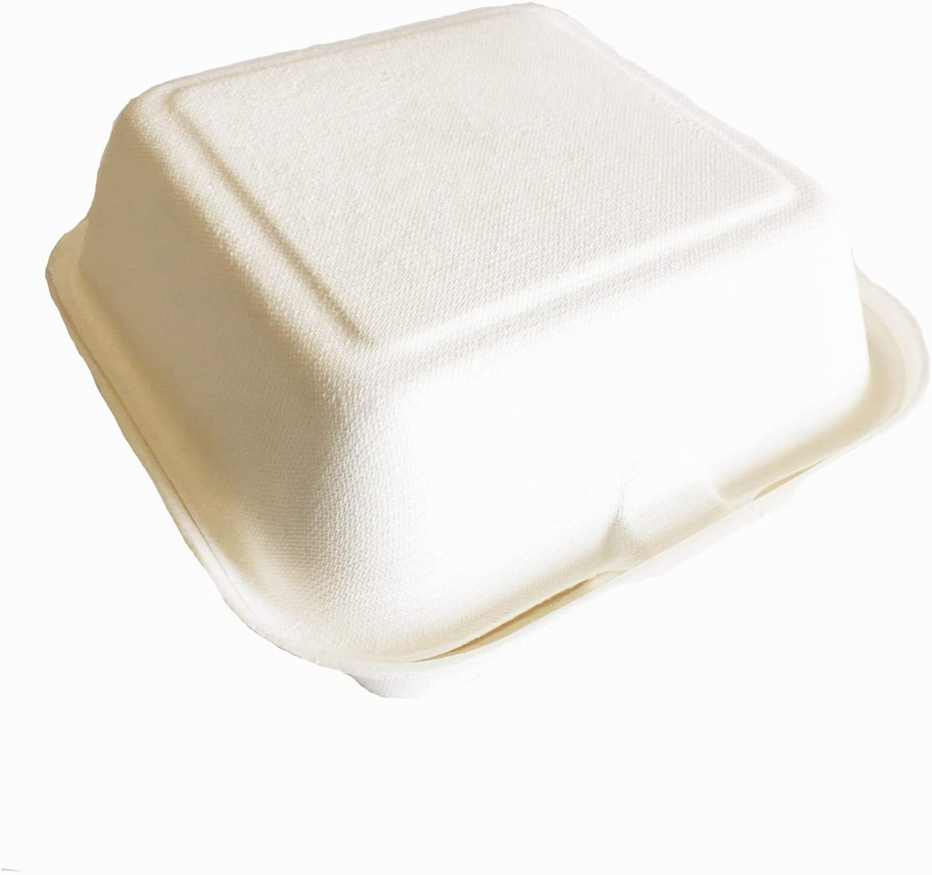 [6-Inch] 125 Pack Organic Premium Compostable Hinged Clamshell Hamburger Box Paper Container Natural Disposable Eco-Friendly Planted-Based For Picnic, Party, Camping (White)