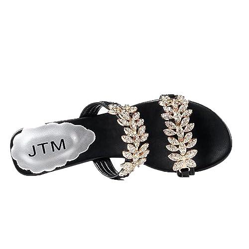 BFMEI Summer Lady Artificial PU Zapatillas Oxford Cabeza Redonda Diamantes De Imitación Sandalias De Tacón Alto: Amazon.es: Zapatos y complementos