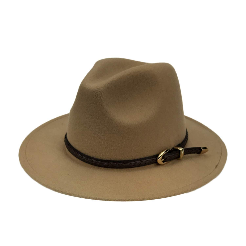 Fedoras Winter Felt Cap Men Trilby Cap Women Warm Panama Hats Autumn Jazz Caps with Exquisite Woven Belt