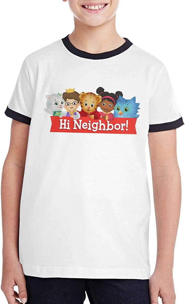 Boys Girls T Shirt Unisex Teenager Contrast Color Blouse Daniel Tiger'S Neighborhood