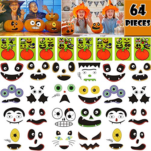 OuMuaMua 64 Packs Halloween Pumpkin Decorating Stickers - 16 Sheet Pumpkin Face Stickers in 32 Designs for Halloween Party Supplies Trick or Treat Party Favors